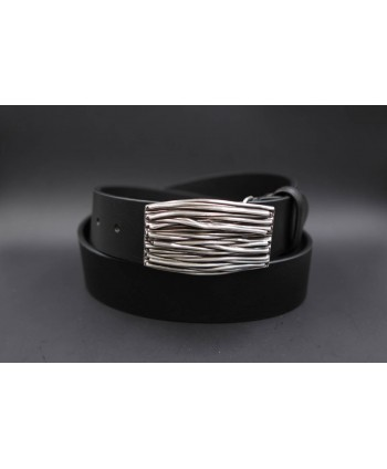 Large black belt with buckle branches - buckle detail