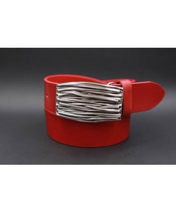 Large red belt with buckle branches