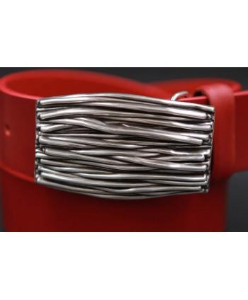 Ceinturon rouge boucle branchage - détail boucle
