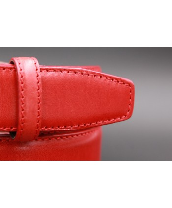 Red smooth leather belt - detail