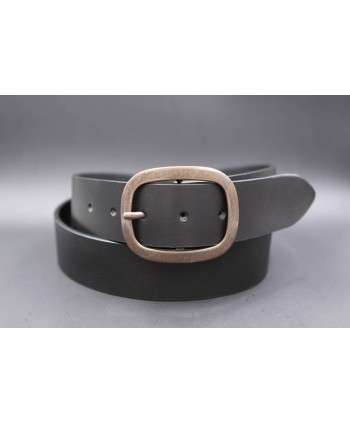 Large black belt with brushed buckle