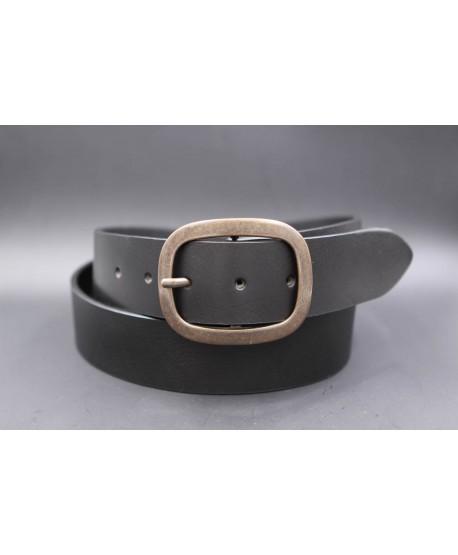 Large black belt with brushed buckle