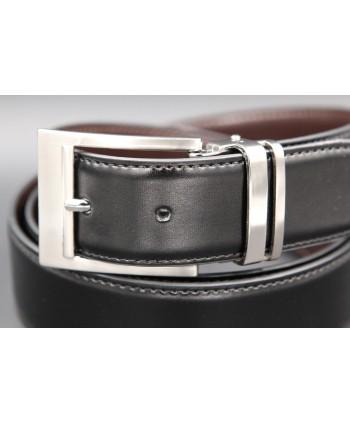 Reversible belt black brown - black side - buckle detail