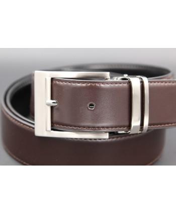 Reversible belt black brown - brown side - buckle detail