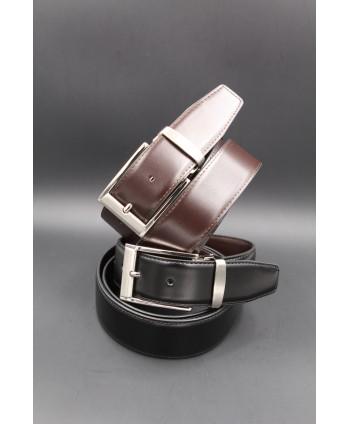 Ceinture réversible cuir noir-marron 35 mm