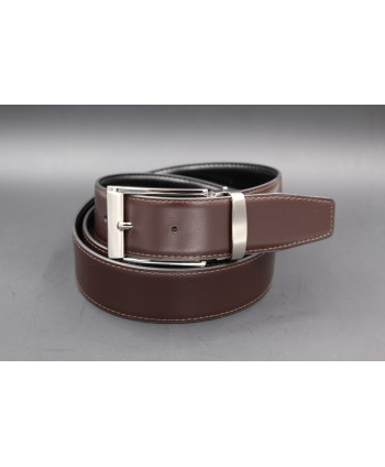 Reversible belt black brown 35 mm - brown side