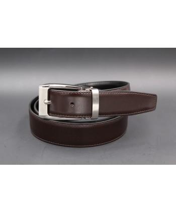 Reversible belt black brown 30 mm - brown side