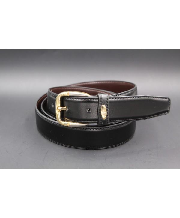 Black split leather belt 30mm
