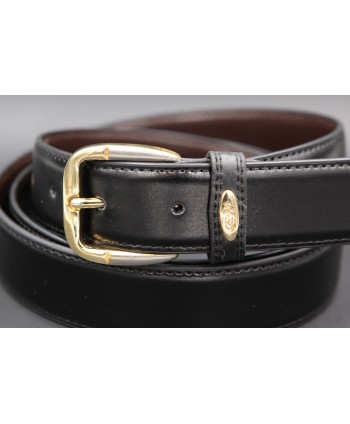 Black split leather belt 30mm - buckle detail