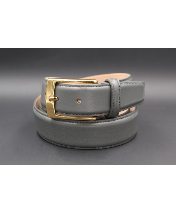 Grey smooth leather belt - golden buckle