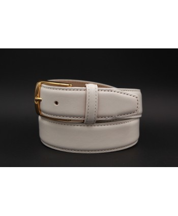 White smooth leather belt big size - golden buckle