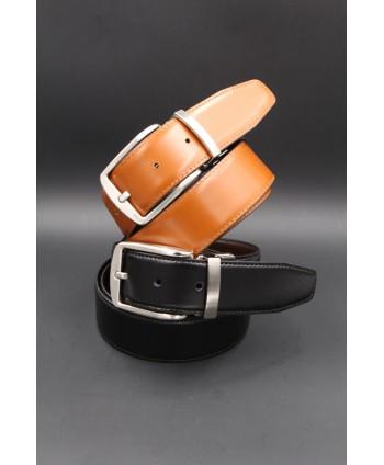 Black - cognac Reversible belt 35mm - pin buckle brushed nickel