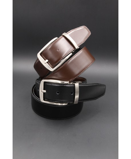 Black - brown Reversible belt 35mm - pin buckle brushed nickel