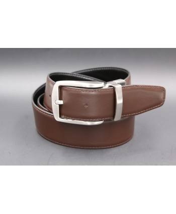Black - brown Reversible belt 35mm - pin buckle brushed nickel - brown side