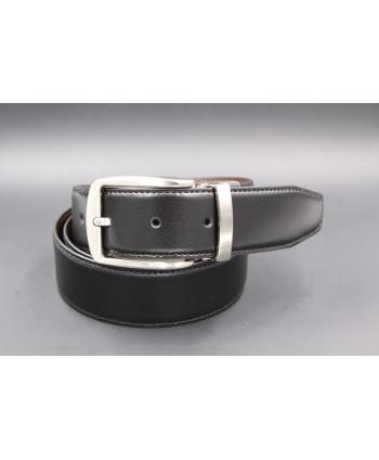 Ceinture réversible 35mm - noir - marron - boucle ardillon nickel brossé - côté noir