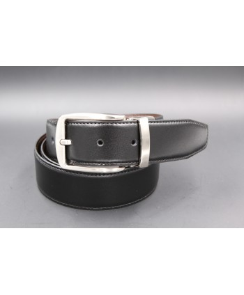 Black - brown Reversible belt 35mm - pin buckle brushed nickel - black side