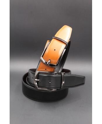 Ceinture réversible 35mm - noir - cognac - boucle ardillon canon de fusil