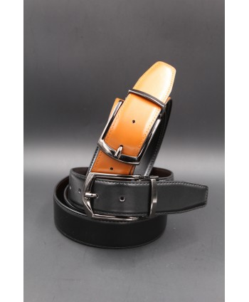 Black - cognac - Reversible belt 35mm - barrel pin buckle