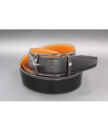 Black - cognac - Reversible belt 35mm - barrel pin buckle - black side