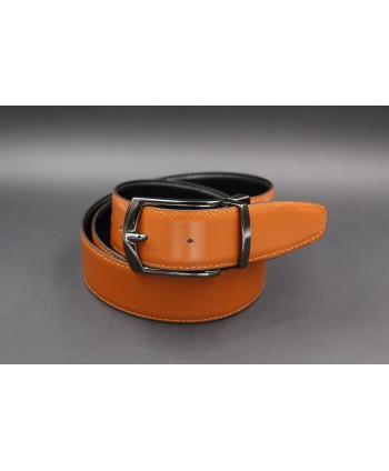 Black - cognac - Reversible belt 35mm - barrel pin buckle - cognac side