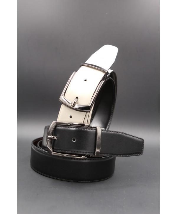 Black - beige - Reversible belt 35mm - barrel pin buckle