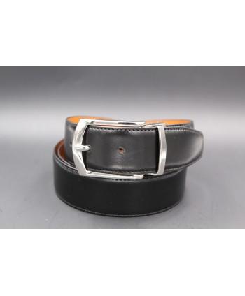 Ceinture réversible 35mm - noir - cognac - boucle ardillon nickel brillant - côté noir