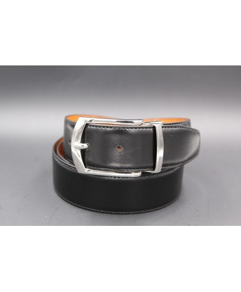 Black - cognac reversible belt 35mm - pin buckle shiny nickel - brown side