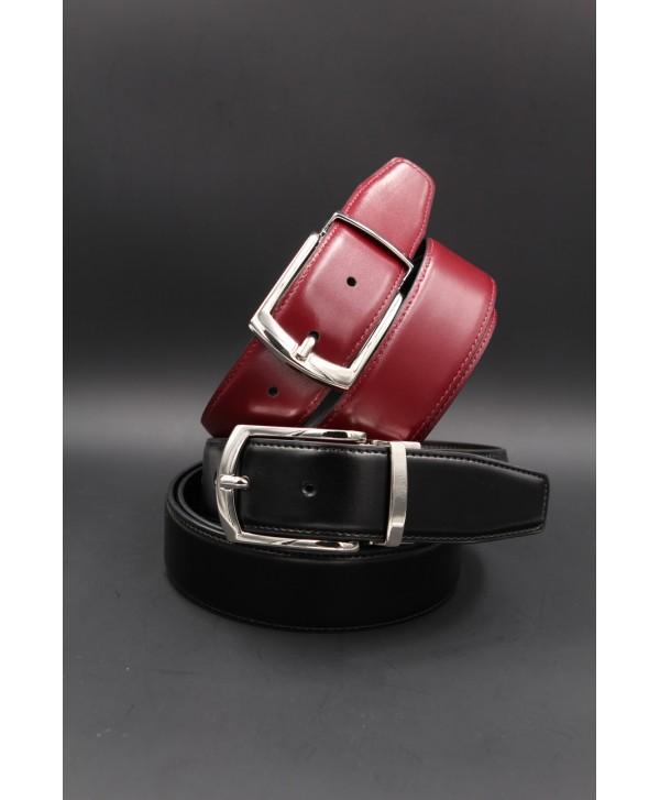 Black - burgundy reversible belt 35mm - pin buckle shiny nickel