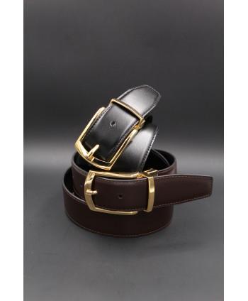 Ceinture réversible 35mm noir - marron - boucle ardillon dorée brillant