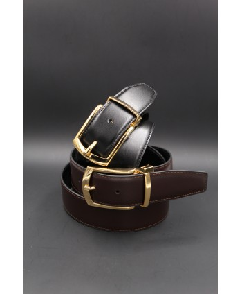 Black - brown Reversible belt 35mm - shiny golden pin buckle