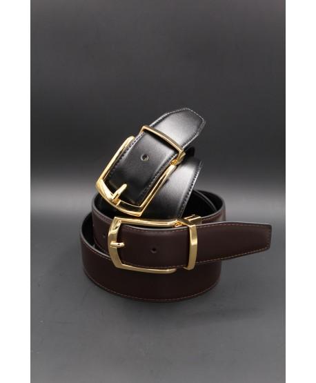 Black - brown Reversible belt 35mm - shiny golden pin buckle