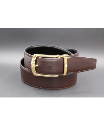 Black - brown Reversible belt 35mm - shiny golden pin buckle - brown side