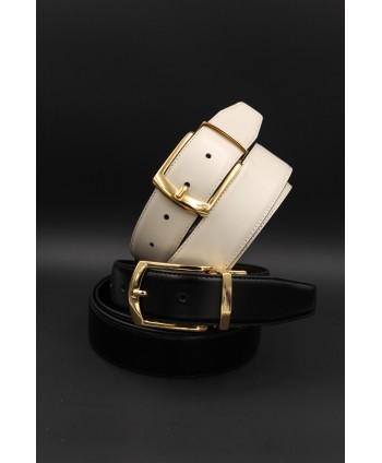Black - beige Reversible belt 35mm - shiny golden pin buckle
