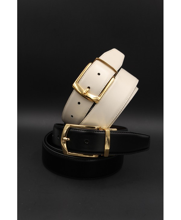 Black - beige Reversible belt 35mm - shiny golden pin buckle