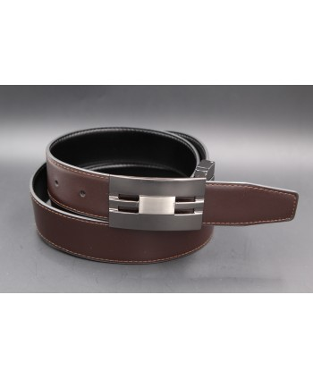 Black - brown reversible belt 35mm - gun barrel case - brown side