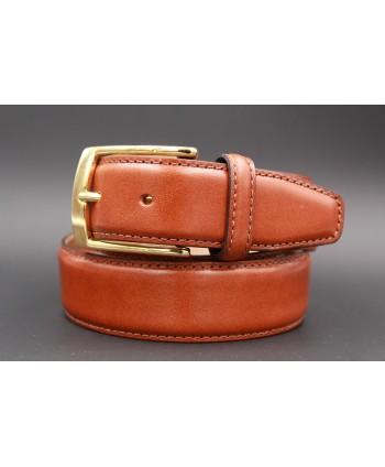 Gold smooth leather belt big size - golden buckle