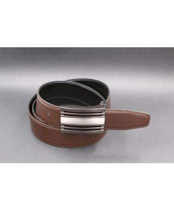 Black - brown reversible belt 35mm - gun barrel case - brown side