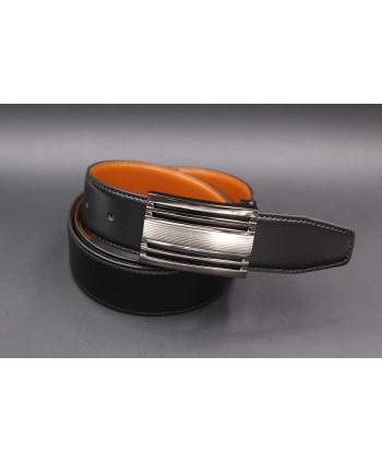 Ceinturon noir - Boucle ovale corde nickel