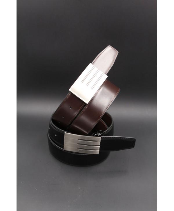 Ceinturon noir - Boucle rectangulaire atypique nickel