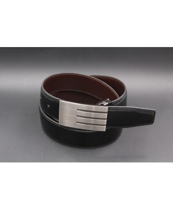 Ceinturon noir - Boucle rectangulaire a motif nickel