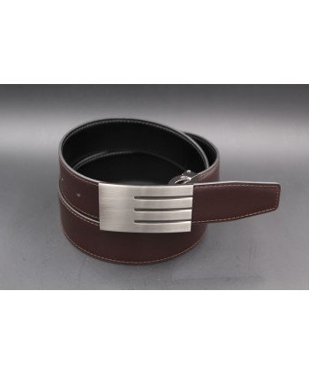 Black-brown Reversible belt 35mm - brushed solid nickel case - brown side