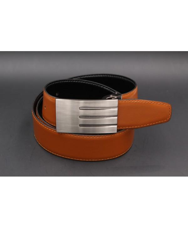Ceinturon rouge - Boucle ovale Union Jack nickel