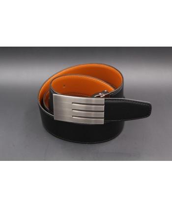 Ceinturon marron foncé - Boucle ovale Union Jack nickel