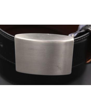 Reversible black brown belt - full brushed nickel case - buckle detail