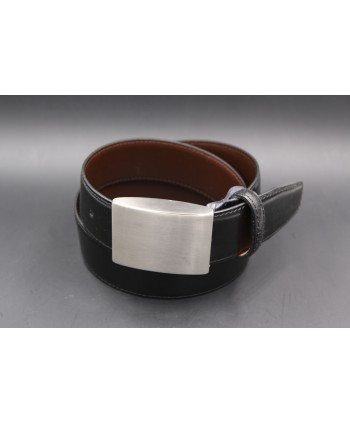 Ceinture réversible noir marron - boitier plein nickel brossé
