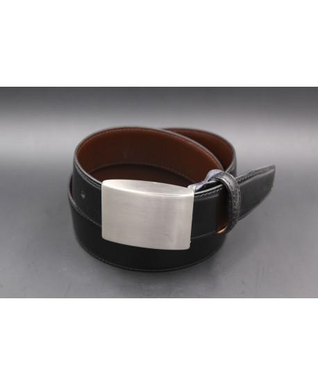 Reversible black brown belt - full brushed nickel case