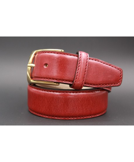 Burgundy smooth leather belt - golden buckle
