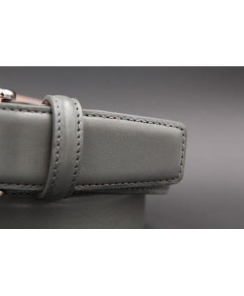 Grey smooth leather belt big size - detail