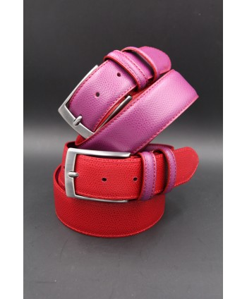 Reversible red purple leather belt