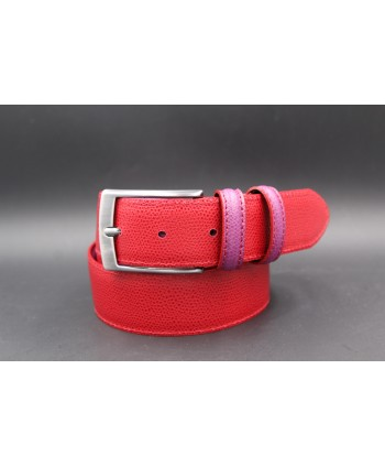Reversible red purple leather belt - red side